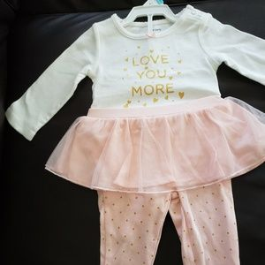 Carters baby girl tutu pants with matching onesie